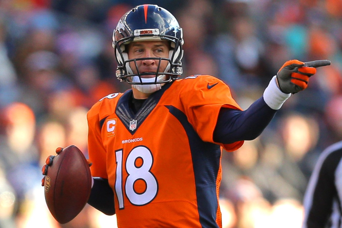 DENVER, CO - DECEMBER 28:  Quarterback Peyton Manning #18 of the Denver Broncos drops back to pass against the Oakland Raiders during a game at Sports Authority Field at Mile High on December 28, 2014 in Denver, Colorado.  (Photo by Justin Edmonds/Getty Images)
